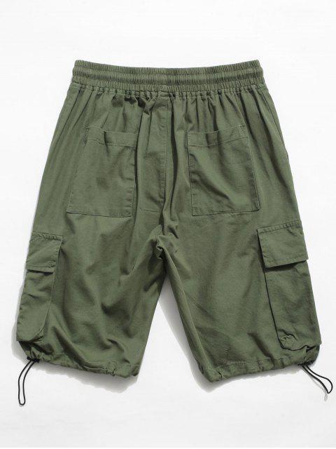 shops Letter Pattern Elastic Waist Cargo Shorts - LIGHT GREEN M Mobile