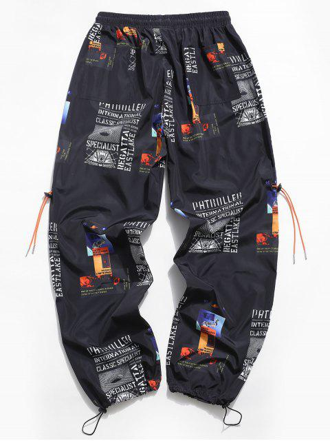 Pantalones Casuales de Estampado Gráfica de Letra - Negro M Mobile