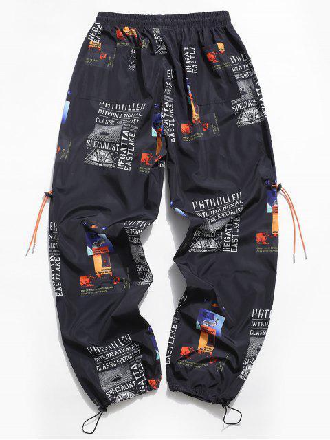 Pantalones Casuales de Estampado Gráfica de Letra - Negro XL Mobile
