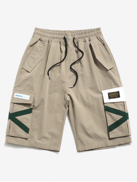 womens Letter Applique Multi-pocket Cargo Shorts - KHAKI L Mobile