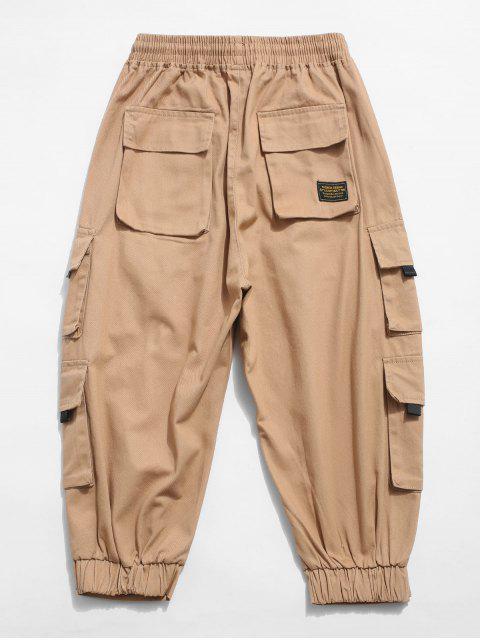shop Solid Color Multi-pocket Decorated Cargo Pants - KHAKI XS Mobile