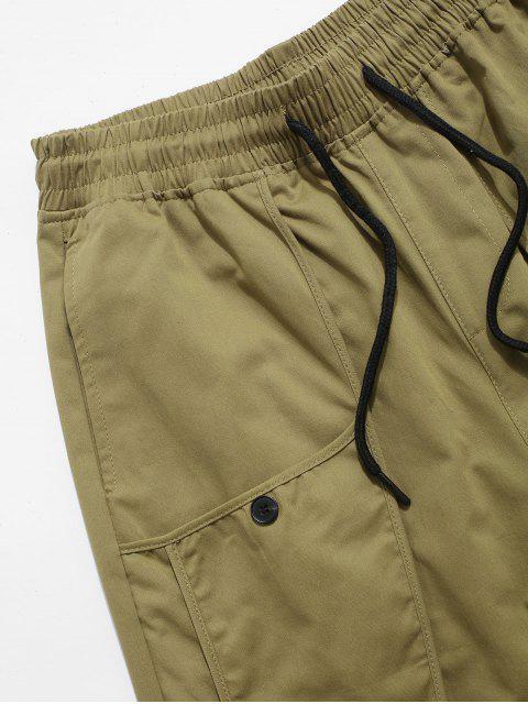 chic Letter Decoration Pocket Drawstring Shorts - KHAKI S Mobile