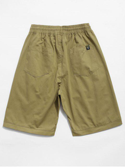 affordable Letter Decoration Pocket Drawstring Shorts - KHAKI 2XL Mobile