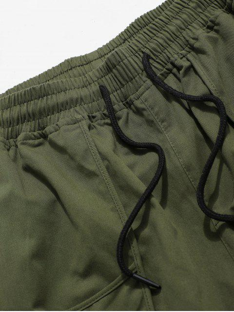 buy Letter Decoration Pocket Drawstring Shorts - ARMY GREEN XS Mobile
