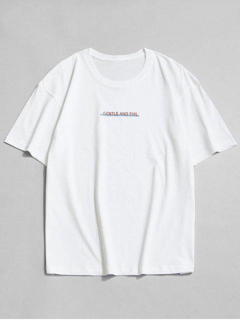 Camiseta Suelto Estampado Letras Cuello Redondo - Blanco M Mobile