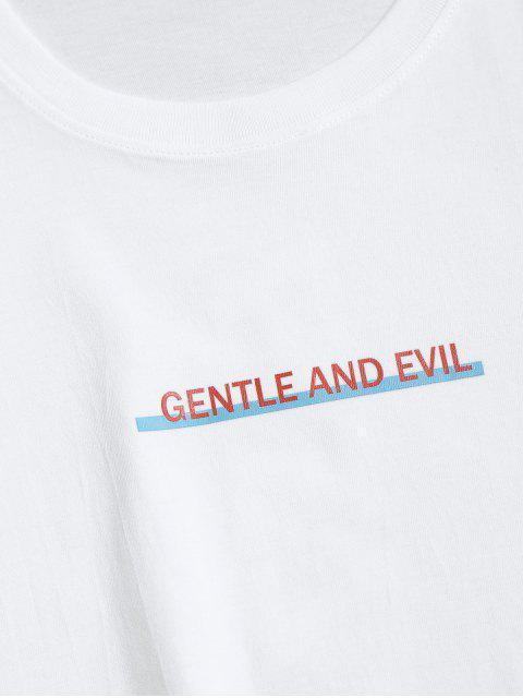 Camiseta Suelto Estampado Letras Cuello Redondo - Blanco XL Mobile