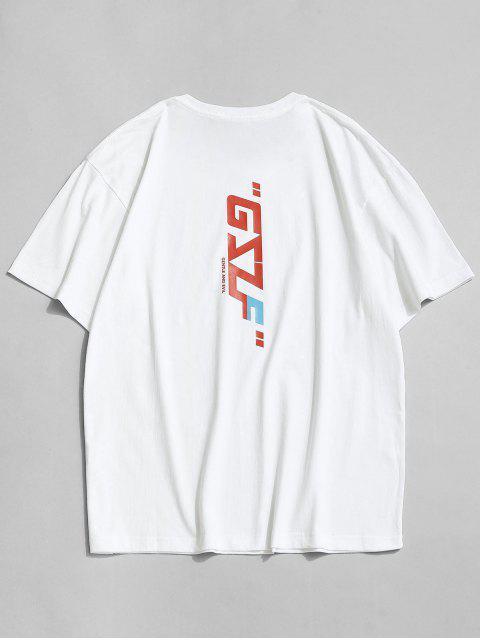 T-shirt Lettre et Slogan Imprimés à Col Rond - Blanc 4XL Mobile