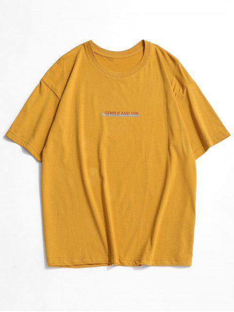 Camiseta Suelto Estampado Letras Cuello Redondo - Amarillo 3XL Mobile