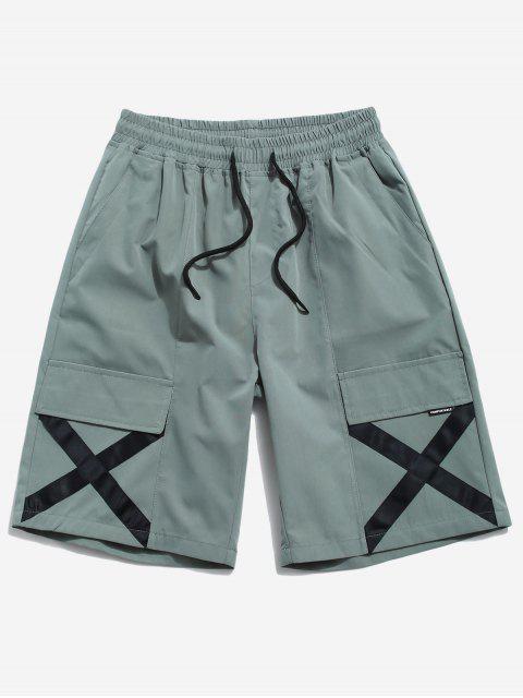 shops Cross Print Multi-pocket Casual Shorts - GREEN S Mobile