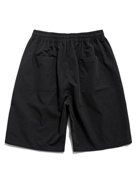 unique Cross Print Multi-pocket Casual Shorts - BLACK S Mobile