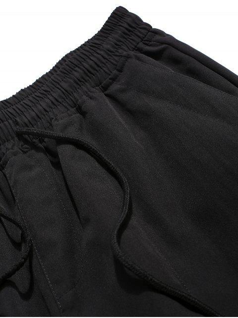 buy Cross Print Multi-pocket Casual Shorts - BLACK XL Mobile