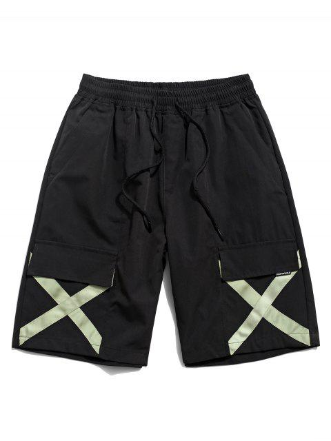 womens Cross Print Multi-pocket Casual Shorts - BLACK 2XL Mobile