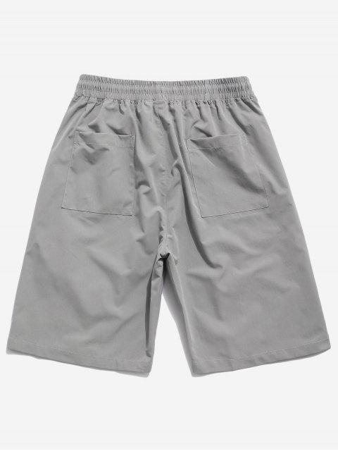 women Cross Print Multi-pocket Casual Shorts - GRAY XS Mobile