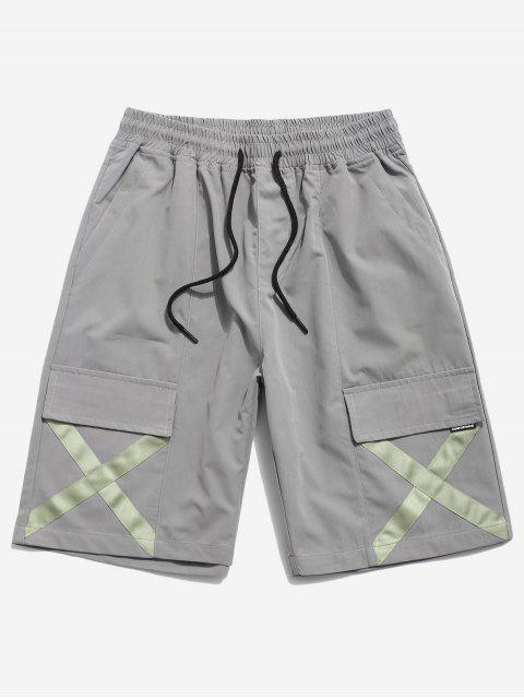 online Cross Print Multi-pocket Casual Shorts - GRAY 2XL Mobile