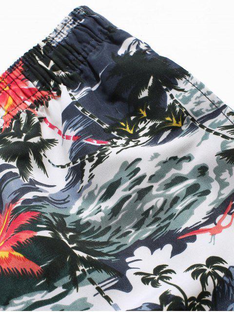 shop Palm Tree Landscape Print Vacation Shorts - BLACK 3XL Mobile