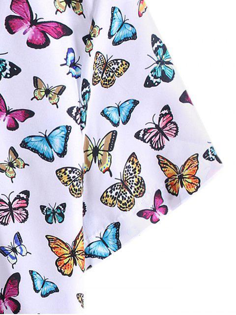 Chemise de Vacances Motif de Papillon - Blanc 3XL Mobile