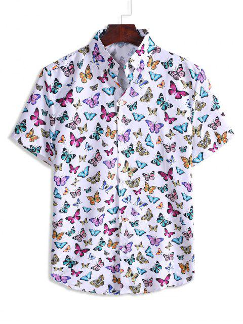 Butterfly Pattern Vacation Shirt - أبيض 3XL Mobile