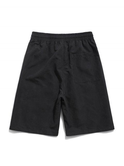 trendy Flower Print Multi Pockets Casual Shorts - BLACK 2XL Mobile