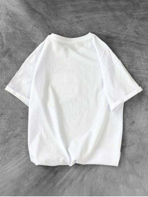 T-Shirt con Motivo di Dinosauro - Bianca XS Mobile
