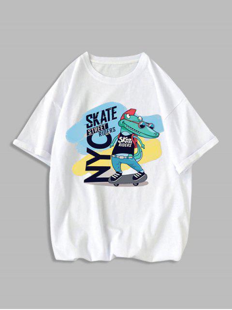 Cartoon Tiergesichts Reinigendes Grundlegendes Buchstabe Grafik Grundlegendes T-Shirt - Weiß XS Mobile