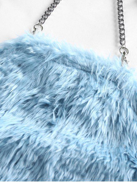 ZAFUL Crop Top de Correntes com Bolas Felpudas Cortado - Azul claro M Mobile