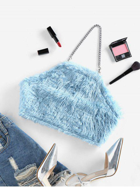 shops ZAFUL Chains Fuzzy Crop Top - LIGHT BLUE S Mobile
