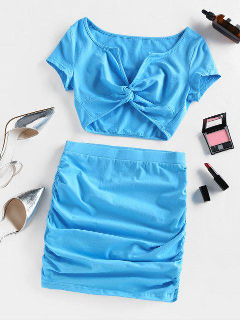 chic Front Twist Ruched Two Piece Dress - LIGHT BLUE L Mobile