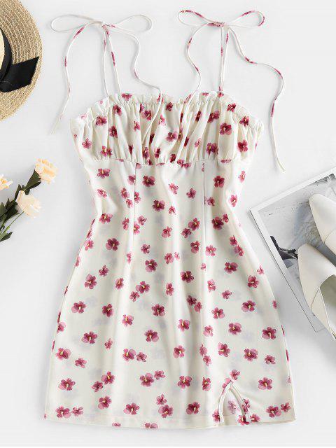 ZAFUL Bodycon Kleid mit Krawattenschulter und Blumendruck - Weiß XS Mobile