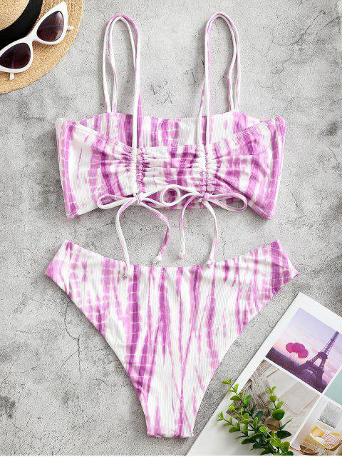shops ZAFUL Ribbed Tie Dye Cinched Bikini Swimwear - PURPLE S Mobile