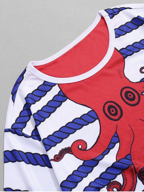 Camiseta de Listrada de Impressão de Paisagem de Listras de Desenhos Animados de Colar Redondo - Branco L Mobile