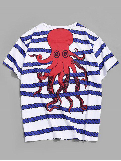 Camiseta de Listrada de Impressão de Paisagem de Listras de Desenhos Animados de Colar Redondo - Branco M Mobile