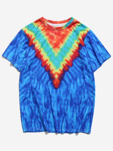 T-Shirt con Stampa Tinta a Nodi e Maniche Corte - Blu Mirtillo 2XL Mobile