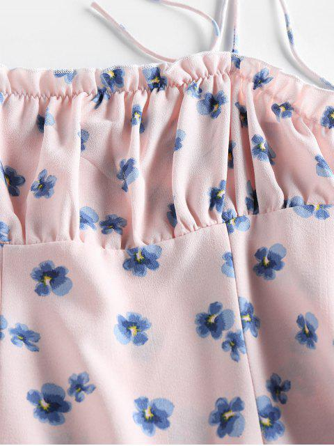 trendy ZAFUL Floral Print Tie Shoulder Bodycon Dress - PINK M Mobile