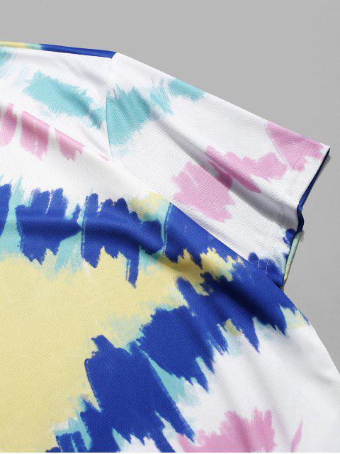 Bunte Malerei Gedrucktes Lässiges T-Shirt - Milchweiß 3XL Mobile