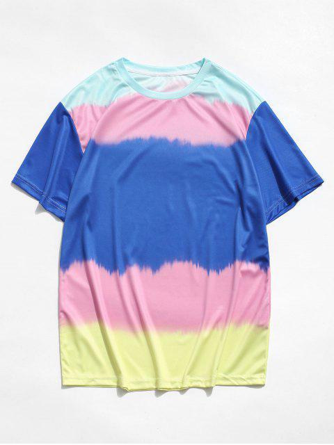 T-Shirt a Blocchi di Colore con Maniche Corte - Blu Mirtillo M Mobile