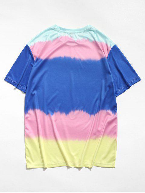 T-Shirt a Blocchi di Colore con Maniche Corte - Blu Mirtillo 2XL Mobile