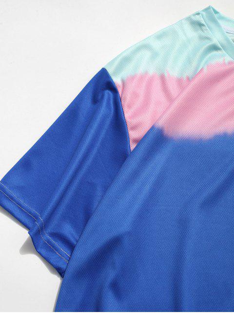 T-Shirt a Blocchi di Colore con Maniche Corte - Blu Mirtillo 3XL Mobile