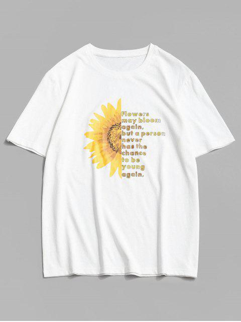 best ZAFUL Floral Graphic Pattern Short Sleeves T-shirt - WHITE XL Mobile