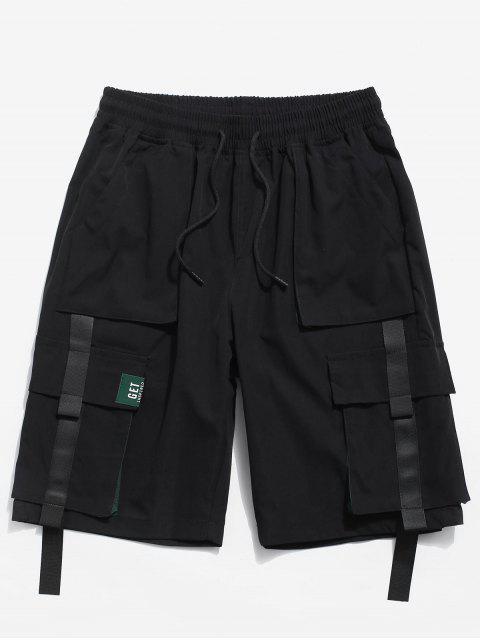 色スプライスポケット装飾ショーツ - ブラック 2XL Mobile