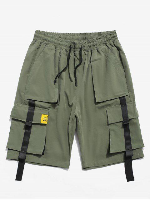 色スプライスポケット装飾ショーツ - アーミーグリーン S Mobile