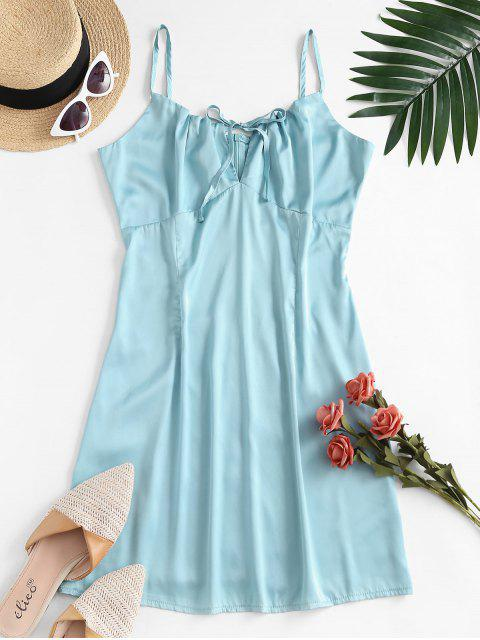 lady ZAFUL Tie Collar Silky Satin Cami Dress - GREEN M Mobile