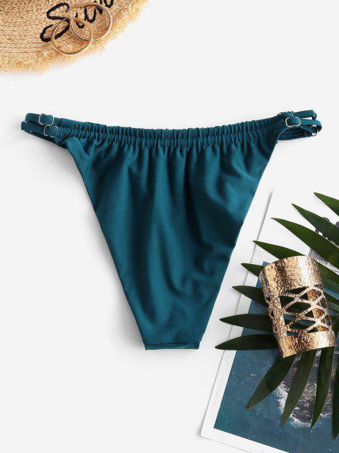 ZAFUL Verstellbarer Riemen Geraffte Bikinihose mit Hohem Bein - Dunkelgrün S Mobile