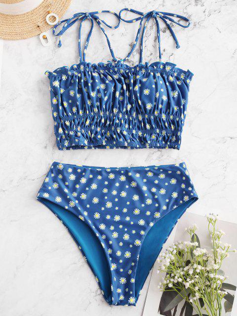 ZAFUL Maillot de Bain Tankini Fleuri Taille Haute à Epaule Nouée - Bleu M Mobile