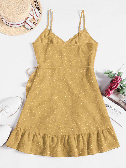 shop ZAFUL Ditsy Dot Cami Flounce Wrap Dress - YELLOW M Mobile