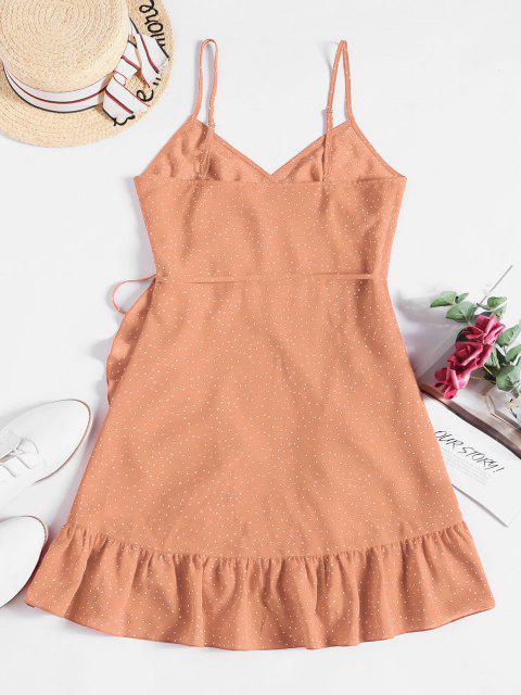 ZAFUL Ditsy Dot Cami Flounce Wrap Dress - برتقالي فاتح M Mobile