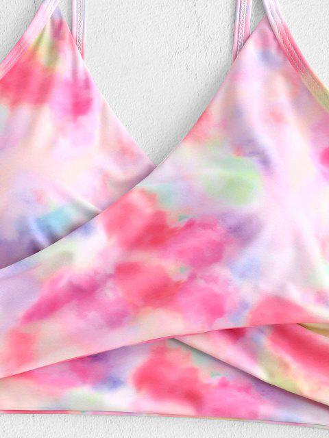 hot ZAFUL Tie Dye Cirss Cross Tankini Swimwear - LIGHT PINK S Mobile
