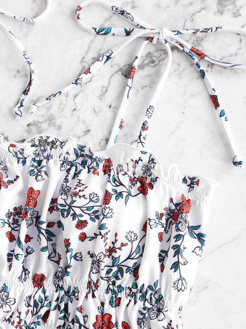 ZAFUL Maillot de Bain Tankini Fleuri Taille Haute à Epaule Nouée - Blanc S Mobile