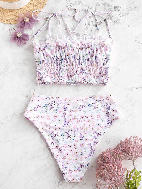 hot ZAFUL High Waisted Ditsy Floral Tie Shoulder Tankini Swimsuit - LIGHT PURPLE M Mobile