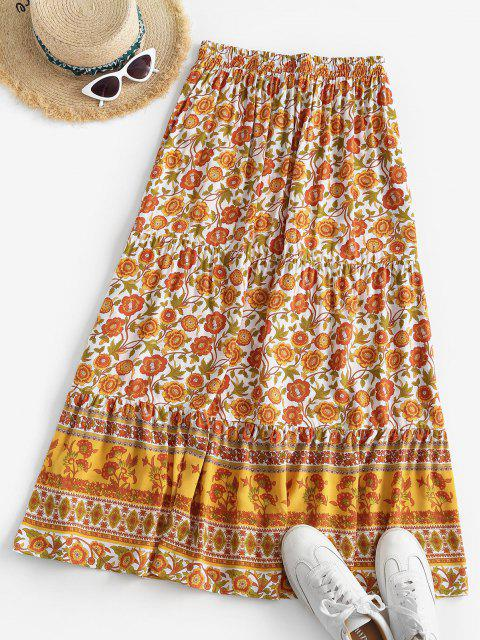shops Bohemian Floral Drawstring Maxi Skirt - YELLOW M Mobile