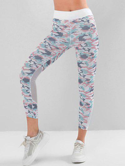 Camo Yoga Leggings Mit Maschen Einsatz Mit Hoher Taille - Multi-a M